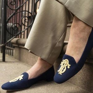 Tory Burch Antonia Navy Blue Gold Logo Flats 8